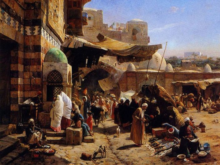 Gustav Bauernfeind: Market at Jaffa, 1877 painting