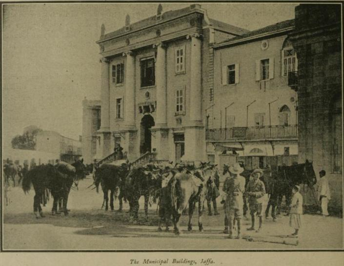 "Jaffa Municipal Building before 1917 or earlier. This photo appeared in the January 1918 journal ""The War"""
